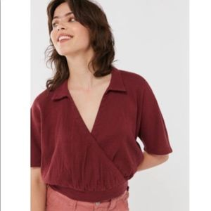 Urban Outfitters Surplice Collared Cropped Top